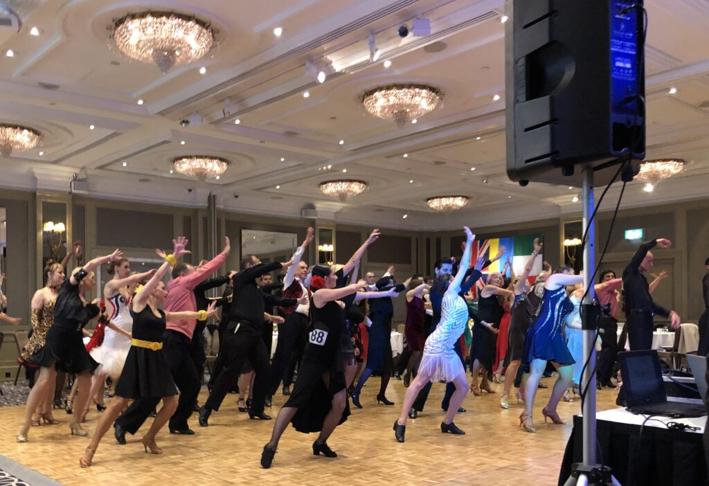 Arthur Murray London Ballroom Dance tuition. Students of ballroom dance gather together at this amazing ballroom and Latin dance showcase event at The Churchill Hotel London.